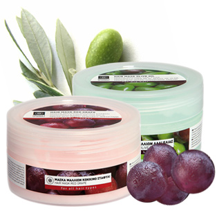 Nourishing hair masks with organically cultivated extracts, red grape & olive oil line
