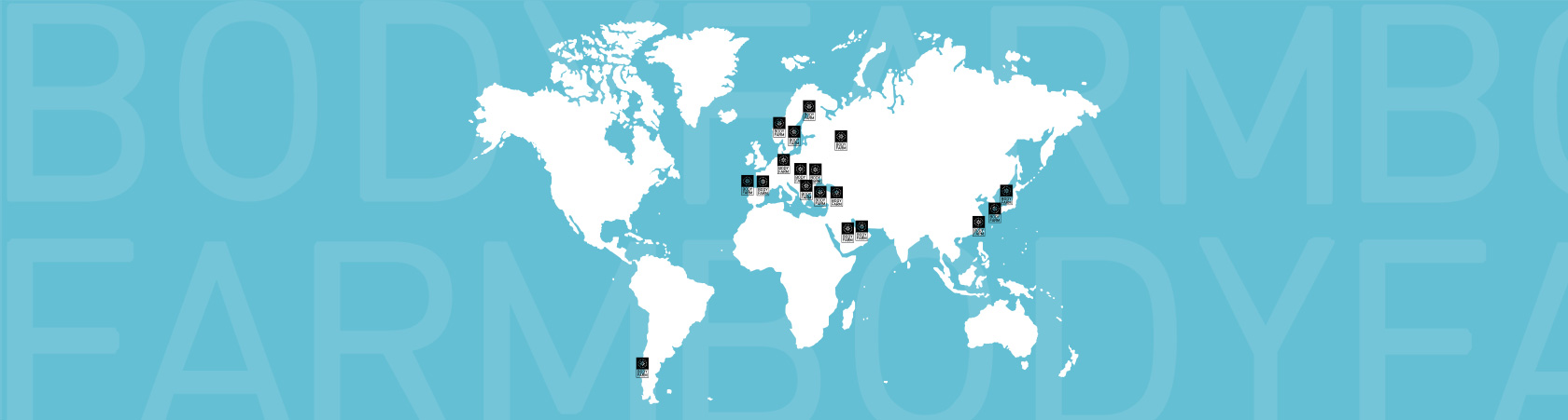Η διεθνής παρουσία της Bodyfarm, αποτυπωμένη σε χάρτη